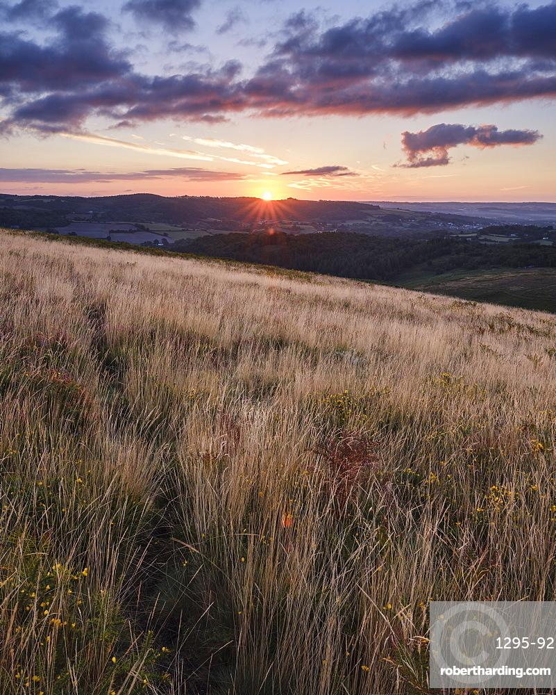Sunrise from the grassy slopes of Trendlebere Down, Bovey Tracey, Devon, England, United Kingdom, Europe