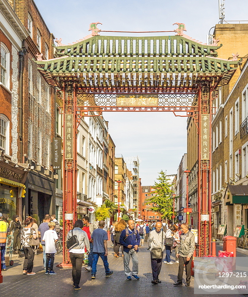 A view of the gate leading to Chinatown in Soho, London, England, United Kingdom, Europe