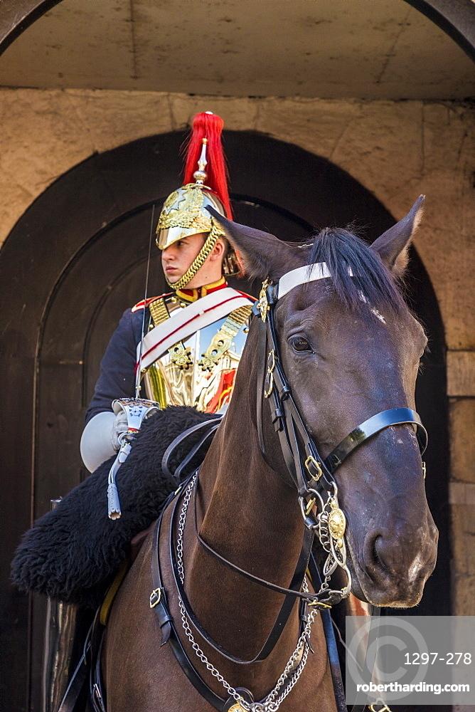 A Royal Guard at Horse Guards Parade, London, England, United Kingdom, Europe