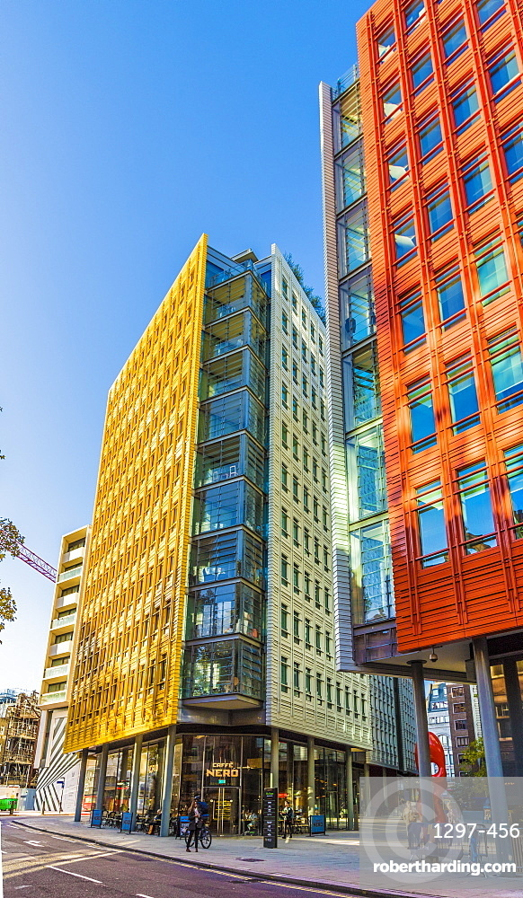 The colourful architecture of Central St. Giles, London, England, United Kingdom, Europe