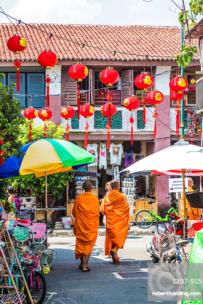 Monks in George Town, a UNESCO World Heritage site, Penang Island, Malaysia, Southeast Asia, Asia.