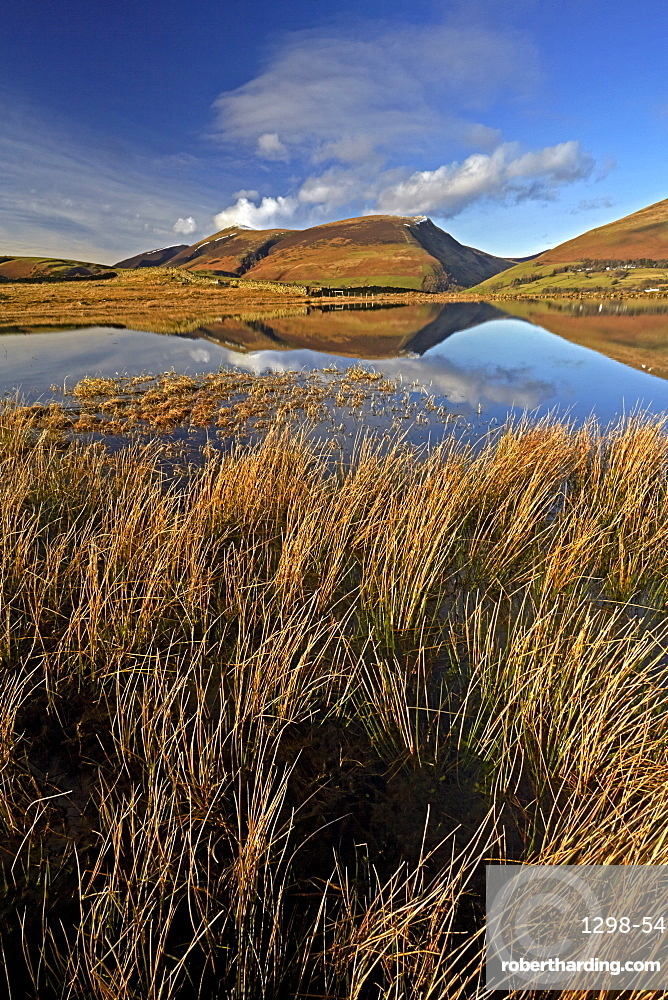 Lonscale Fell and Skiddaw reflected in the still water of Tewet Tarn in the Lake District National Park, UNESCO World Heritage Site, Cumbria, England, United Kingdom, Europe