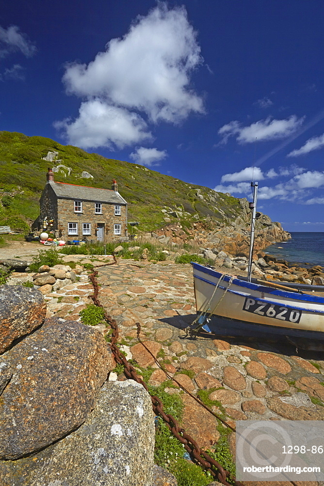 Fisherman's cottage and boat at Penberth Cove, Cornwall, England, United Kingdom, Europe