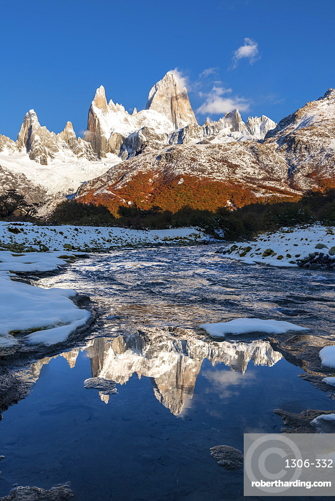 Mountain range with Cerro Fitz Roy reflected, Los Glaciares National Park, UNESCO World Heritage Site, El Chalten, Santa Cruz Province, Patagonia, Argentina, South America