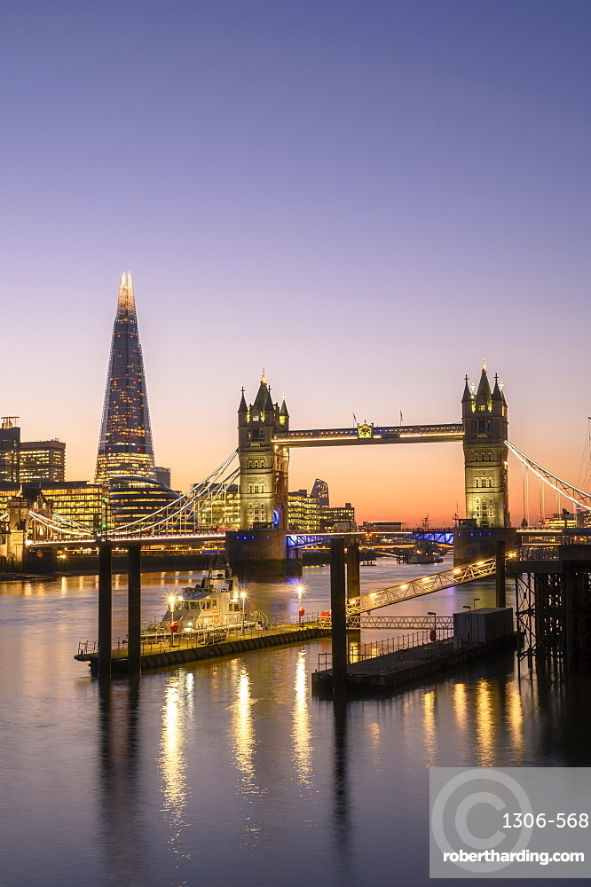 The Shard and Tower Bridge at sunset on the River Thames, London, England, United Kingdom, Europe