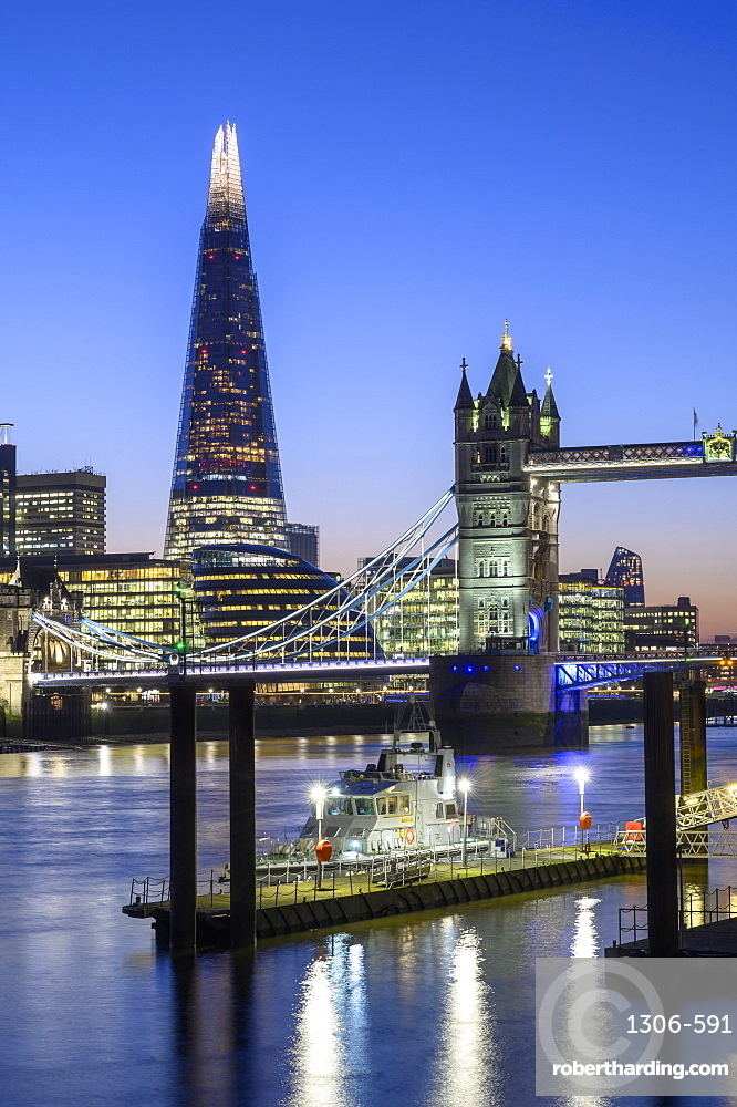 The Shard and Tower Bridge with Naval vessel on the River Thames, London, England, United Kingdom, Europe