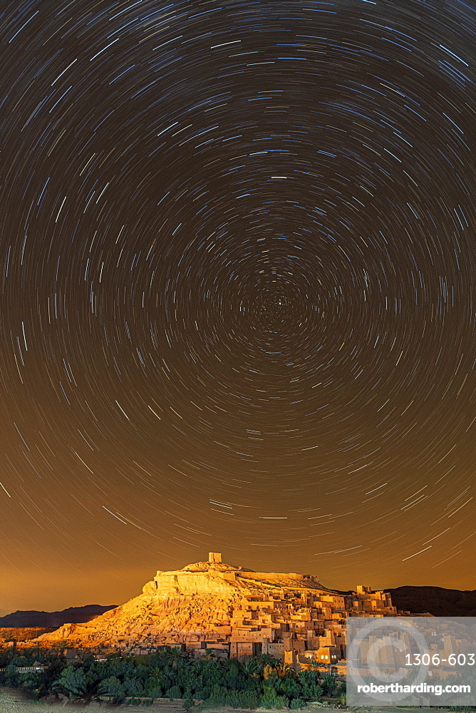 Star trails above The Kasbah Ait-Ben Haddou, UNESCO World Heritage Site, Morocco, North Africa, Africa