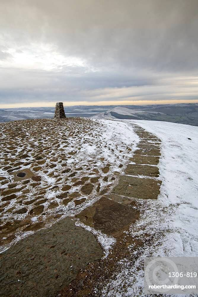 The Trig point in winter at Mam Tor, High Peak, Derbyshire, England, United Kingdom, Europe