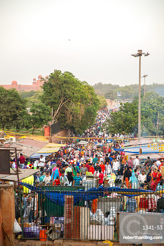 Meena Bazaar flea market near Jama Masjid mosque, Delhi, India, Asia