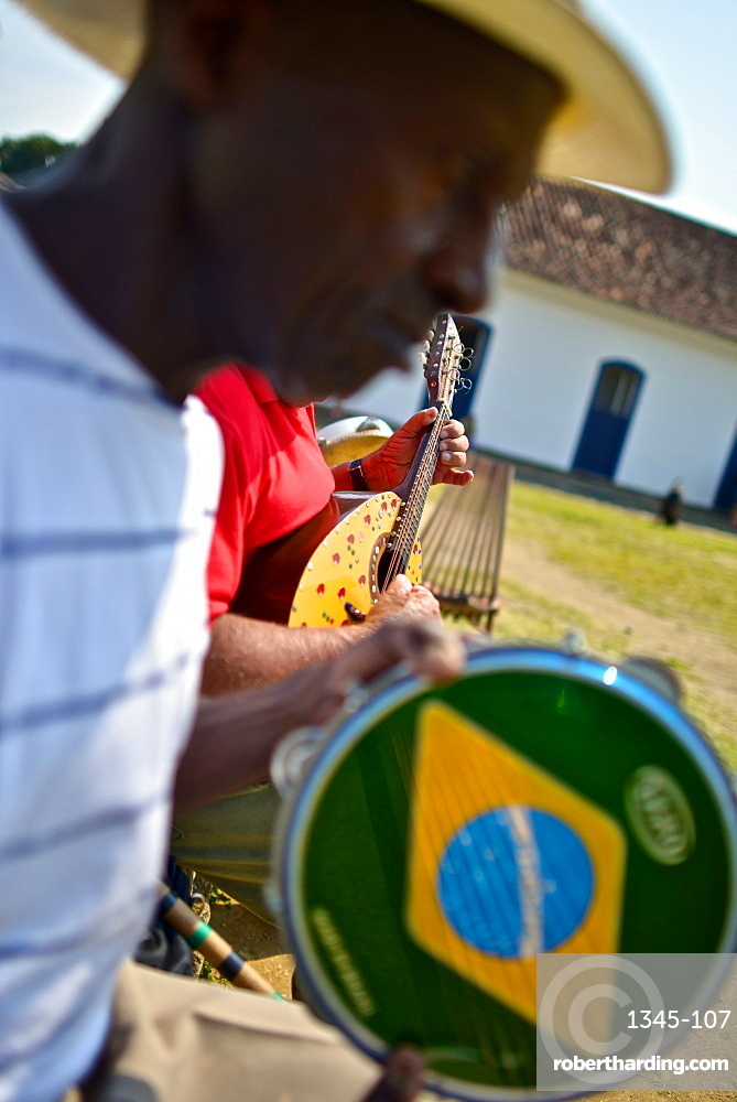 The Pandeiro, a type of hand frame drum popular in Brazil, Paraty, Rio de Janeiro State, Brazil