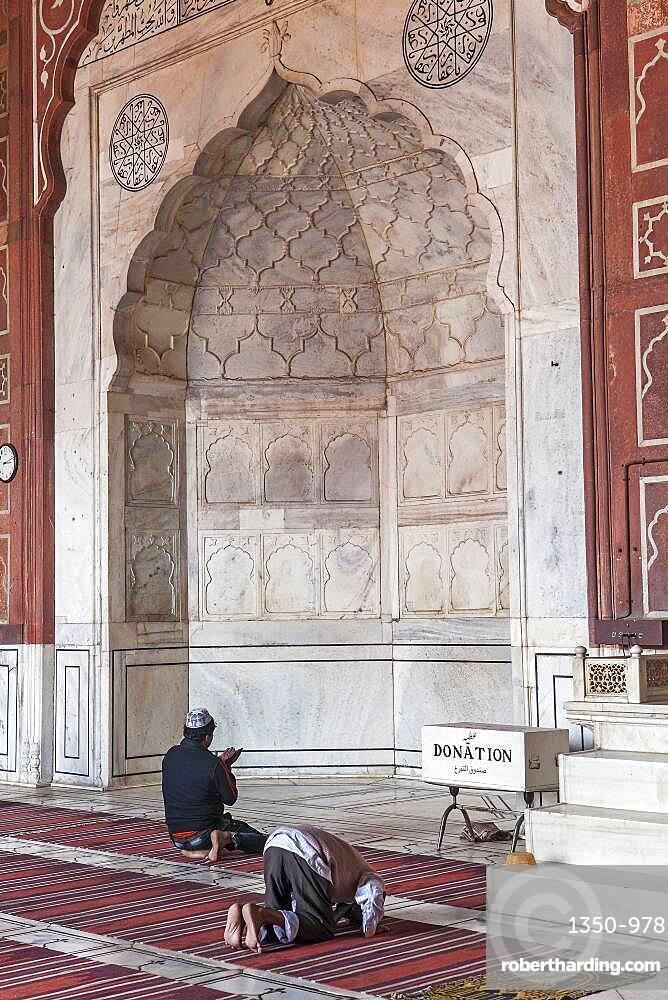Prayer room, interior of Jama Masjid mosque, Delhi, India
