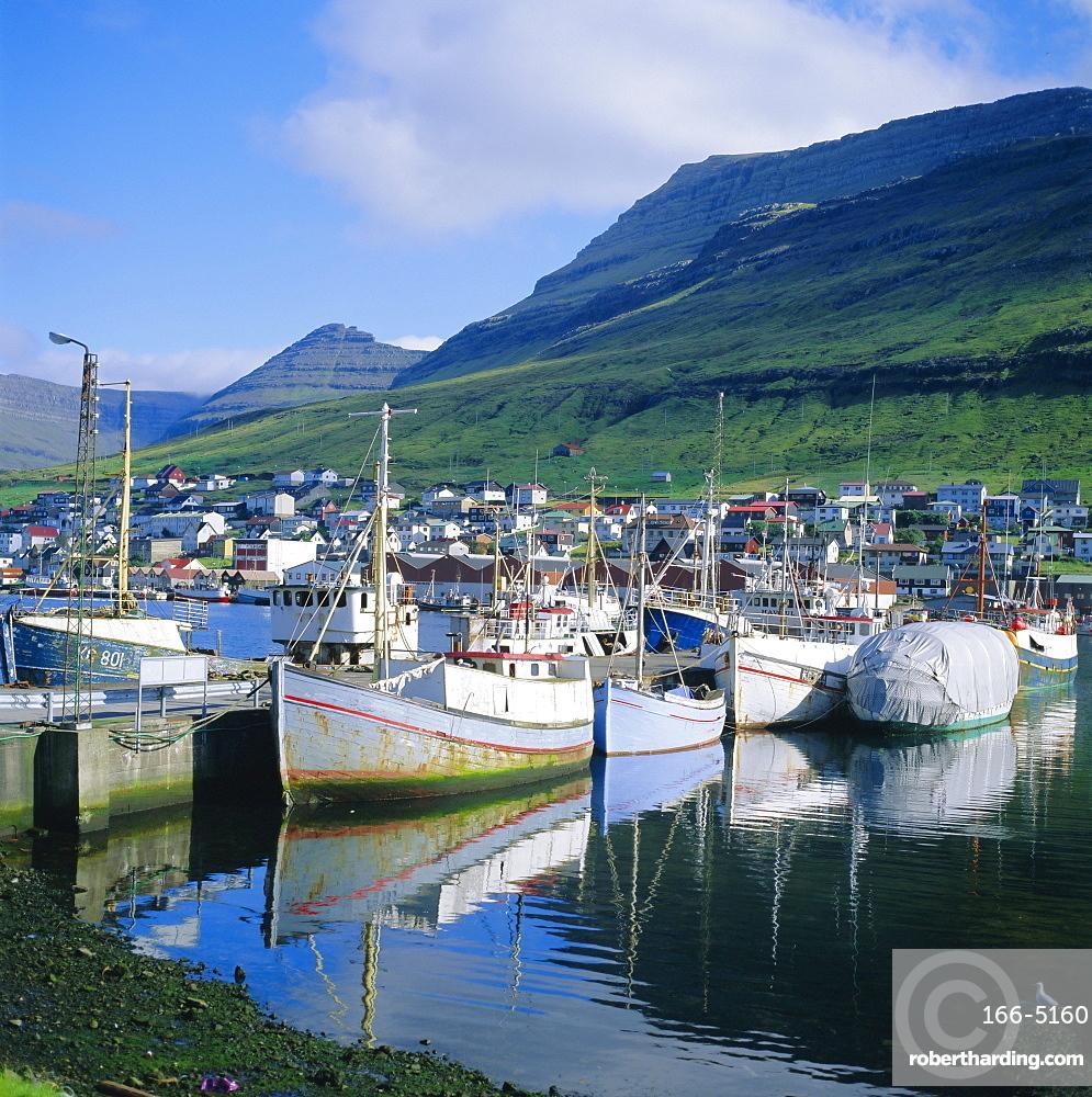 Fishing boats, Klaksvik, Faroe Islands, a self-governing dependancy of Denmark, Europe