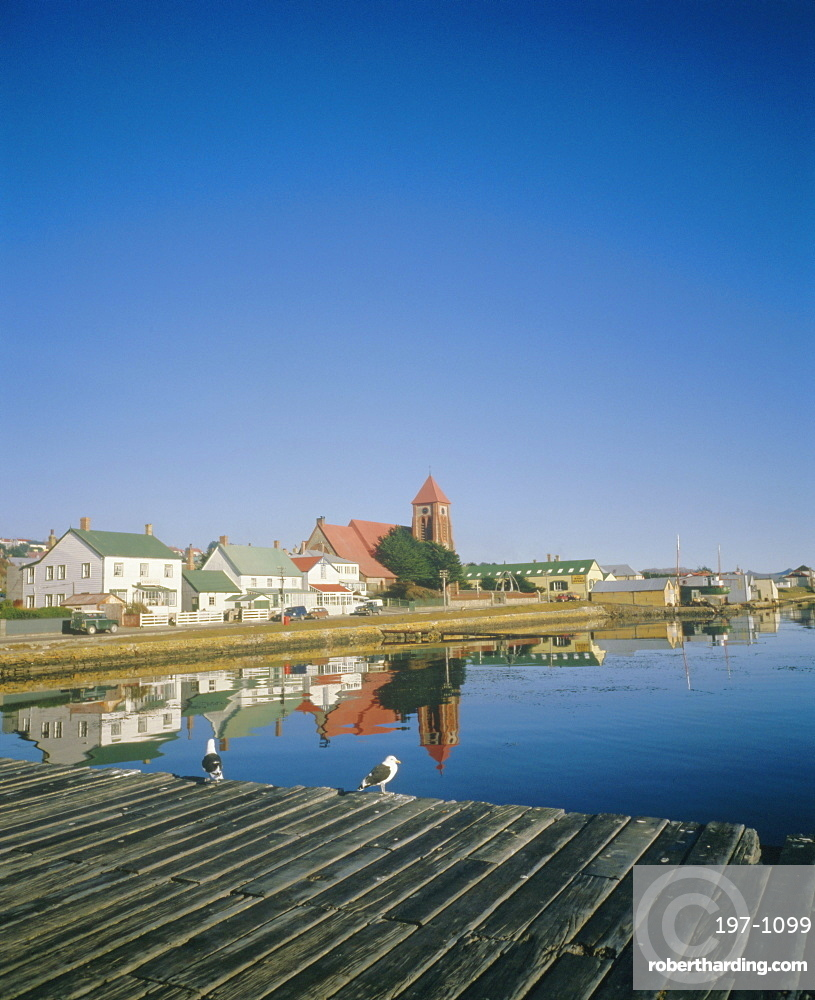 Church and waterfront at Stanley, Falkland Islands, South Atlantic