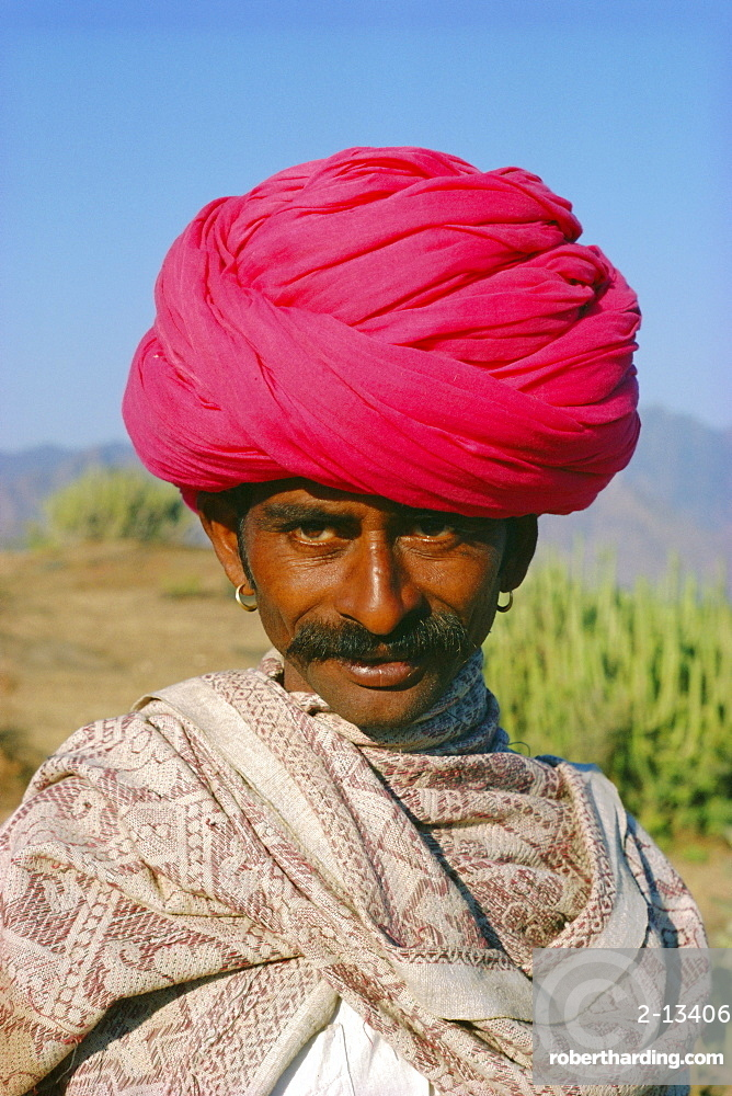 Portrait of a Rajasthani man with a pink turban, Rajasthan State, India