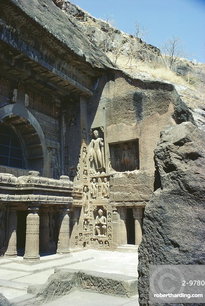 The caves at Ajanta, Deccan Hills, Maharashtra State, India