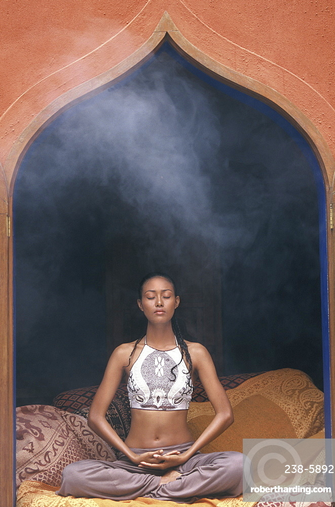 Girl doing meditation, Thailand, Southeast Asia, Asia