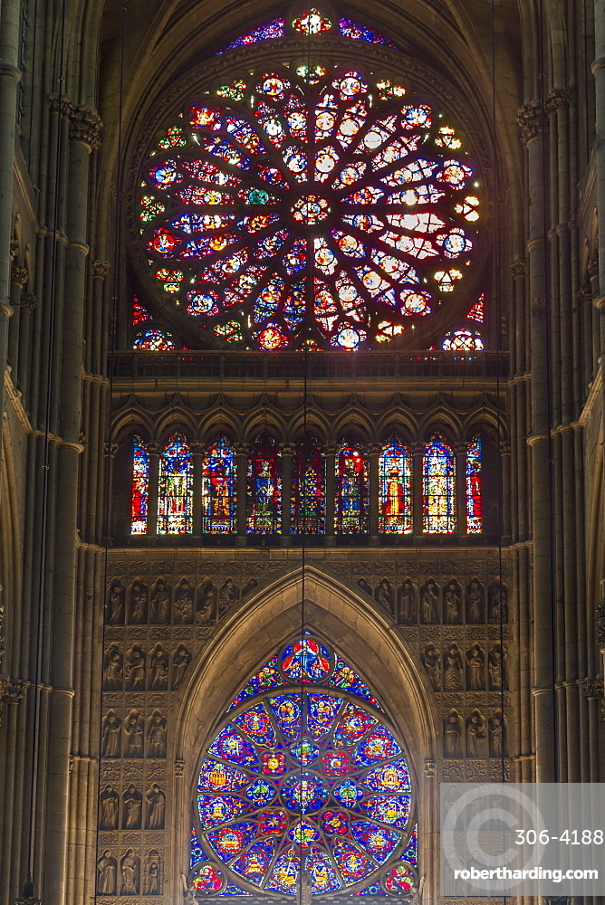 Cathedral west windows, Rheims, UNESCO World Heritage Site, Marne, France, Europe