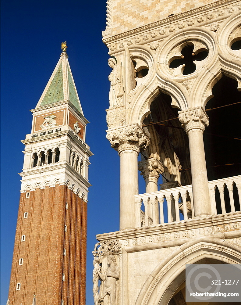 The Campanile and the Doges Palace in St Marks Square, Venice, Veneto, Italy