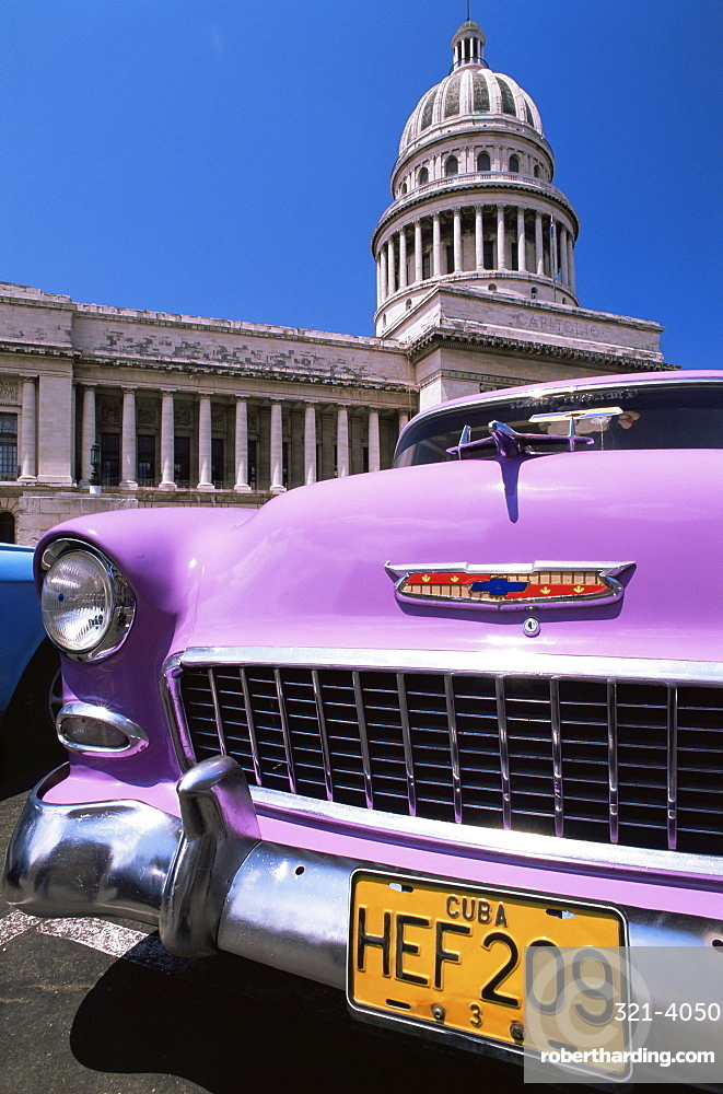 Classic American car outside the Capitolio, Havana, Cuba, West Indies, Central America
