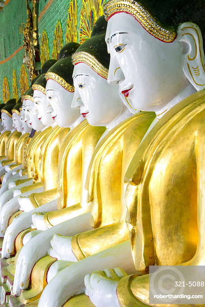 Some of the 45 Buddha images found at a crescent-shaped colonnade at Umin Thounzeh on Sagaing Hill, near Mandalay, Myanmar (Burma), Asia