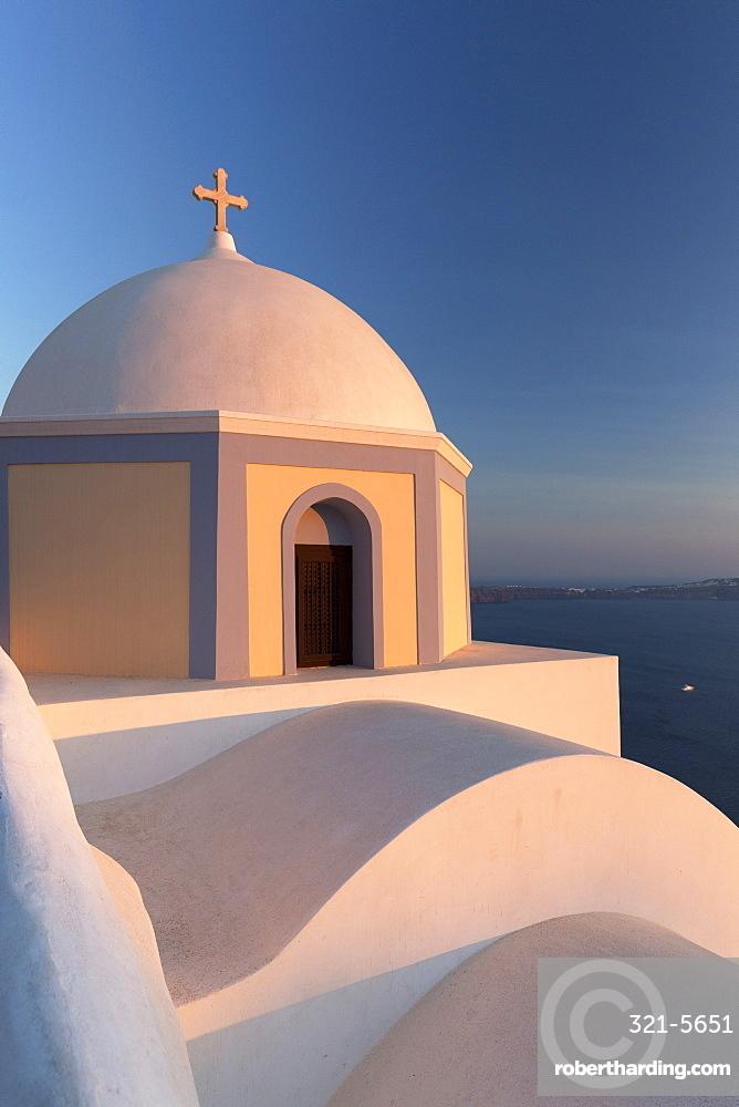 Colourful Catholic Church of St. Stylianos, Fira, Santorini, Cyclades Islands, Greek Islands, Greece, Europe