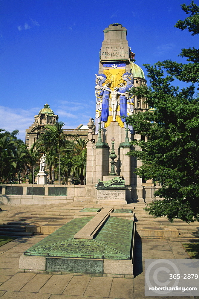 War Memorial with City Hall beyond, Durban, Natal, South Africa, Africa