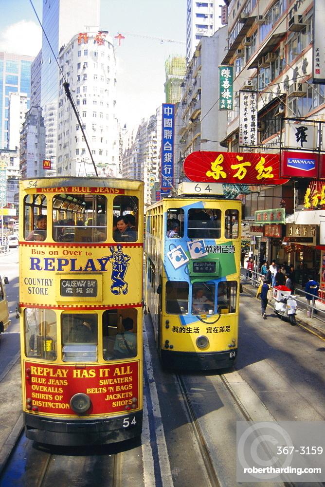 Trams in Wan Chai (Wanchai), Hong Kong, China