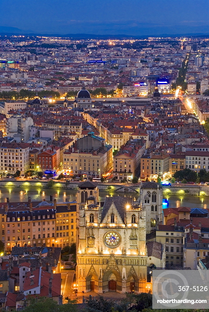 Cityscape, River Saone and cathedral St. Jean at night, Lyons (Lyon), Rhone, France, Europe