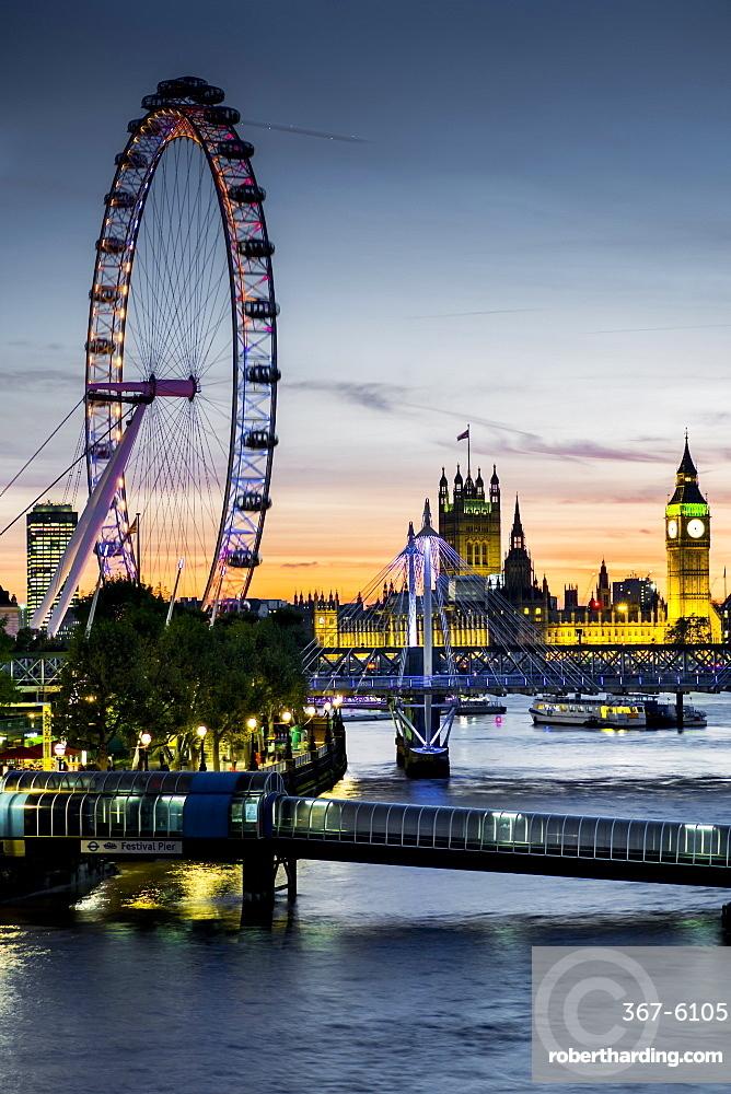 Millennium Wheel (London Eye), River Thames and Big Ben skyline at twilight, London, England, United Kingdom, Europe