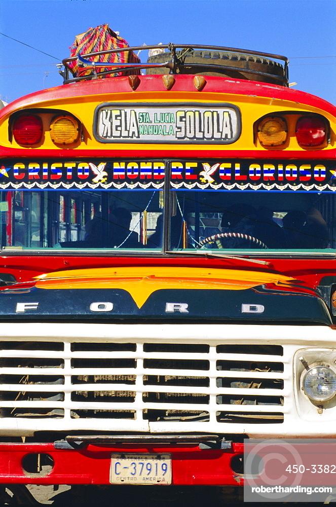 Local bus, formerly US school bus, Solola, Guatemala, Central America