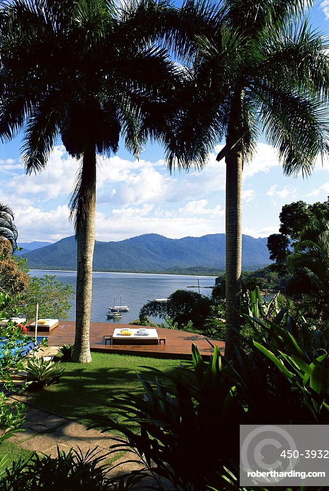 Sundeck and view across the bay, Pousada Picinguaba, Costa Verde, south of Rio, Brazil, South America