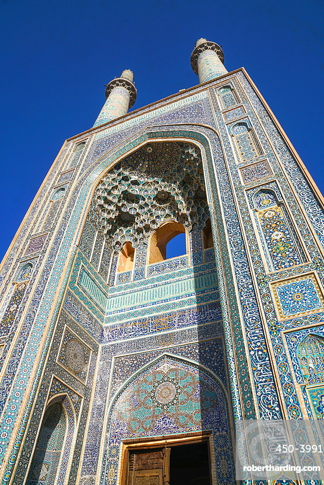 Facade and minarets, Jameh Mosque, Yazd, Iran, Middle East