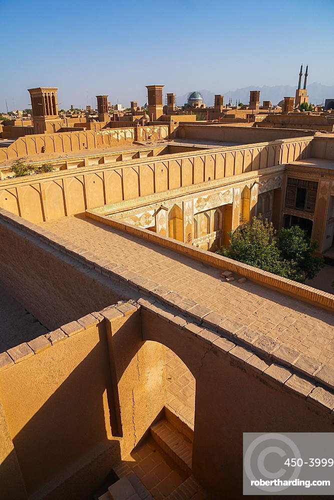 Cityscape at dusk, Yazd, Iran, Middle East