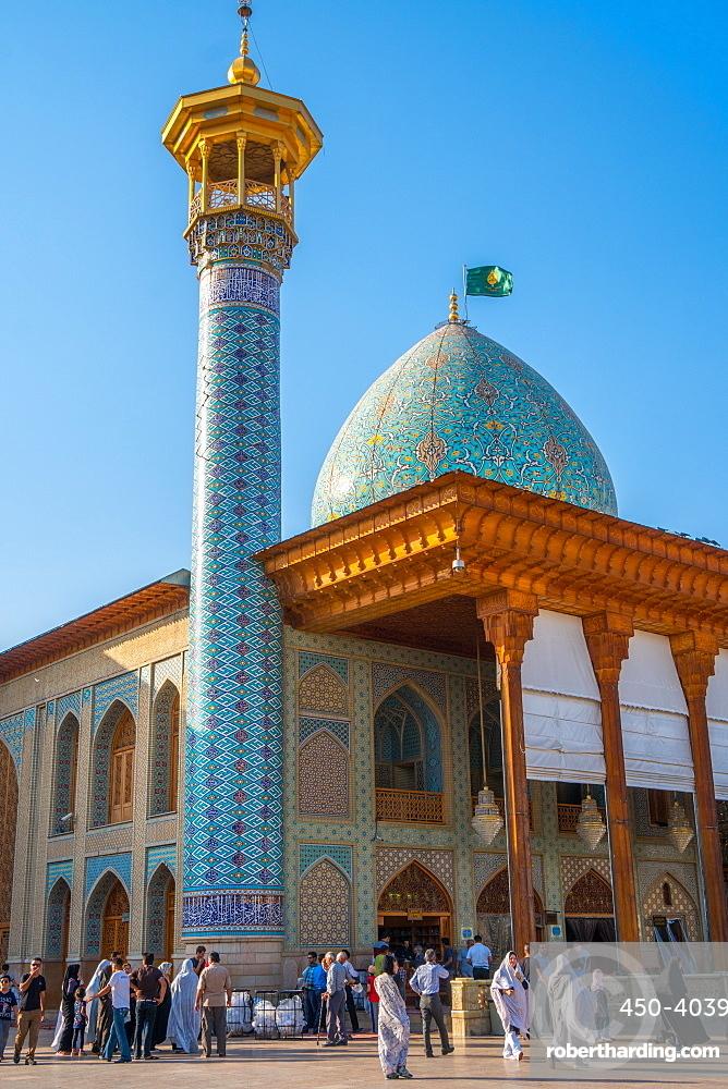 Internal courtyard, Aramgah-e Shah-e Cheragh (Mausoleum of the King of Light), Shiraz, Iran, Middle East