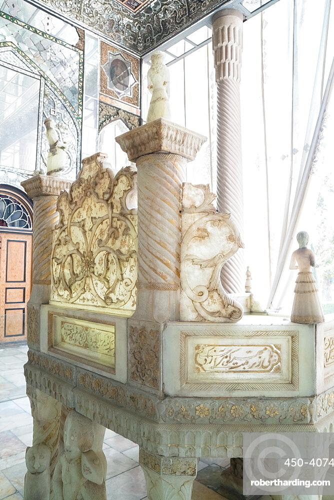 Ivan-e Takht-e Marmar (Marble Throne Verandah), Golestan Palace, UNESCO World Heritage Site, Tehran, Iran, Middle East