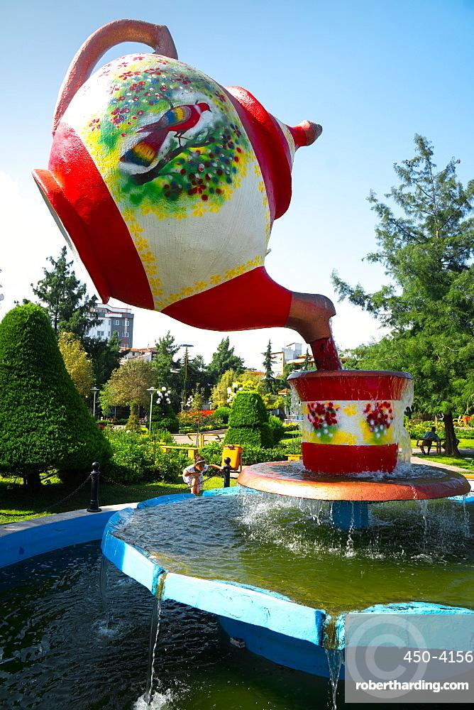 Tea pot fountain at Lahijan, centre of Iran's tea industry, Iran, Middle East
