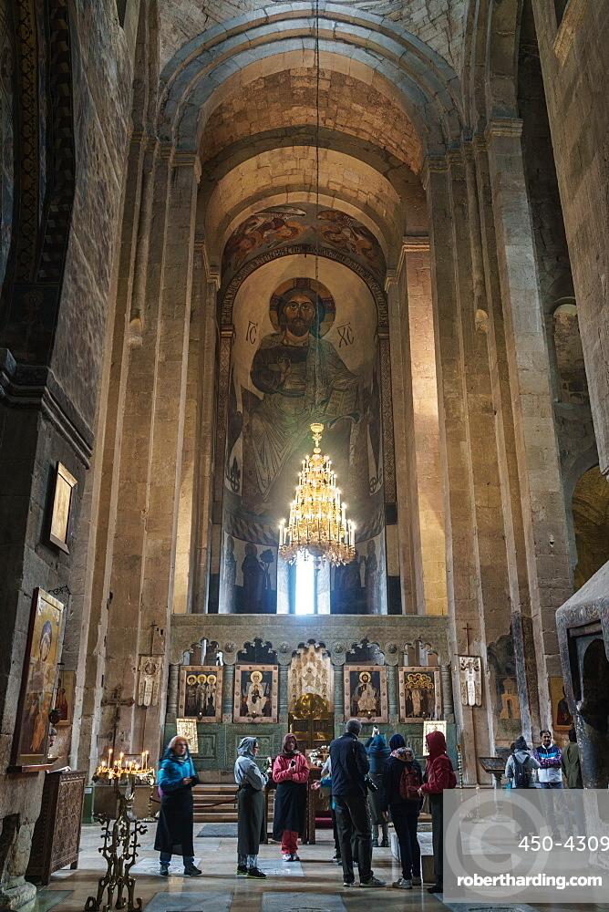 Nave of 11th century Svetitskhoveli Cathedral, UNESCO World Heritage Site, Mtskheta, Georgia, Central Asia, Asia