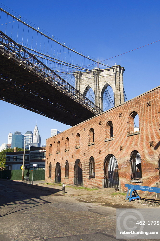 Derelict warehouses under Brooklyn Bridge, Brooklyn, New York City, New York, United States of America, North America