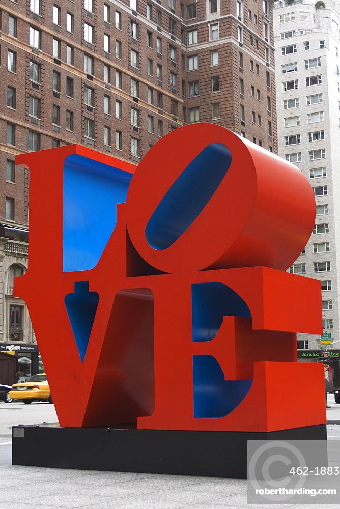 Love Sculpture by Robert Indiana, 6th Avenue, Manhattan, New York City, New York, United States of America, North America