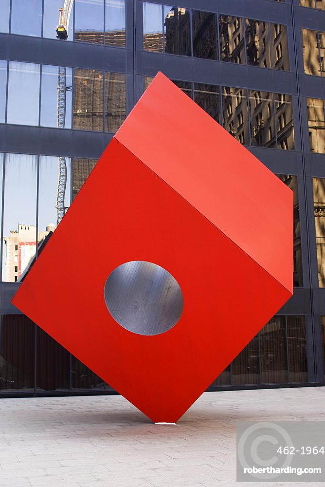 Red Cube sculpture, 1968 by Isamu Noguchi at 140 Broadway, Manhattan, New York City, New York, United States of America, North America