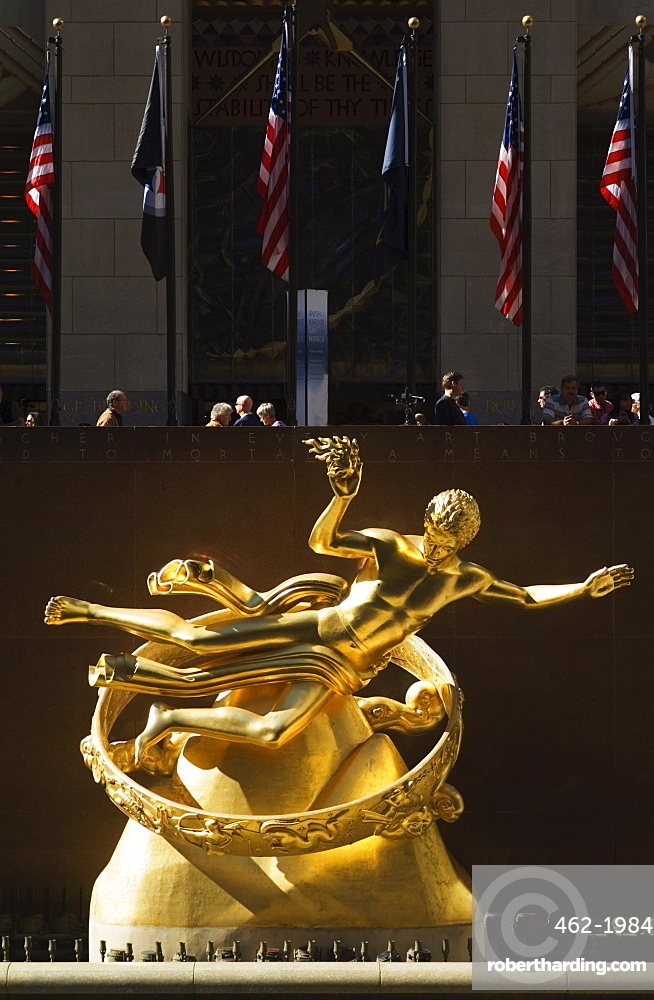 Statue of Prometheus in the Plaza of the Rockefeller Center, Manhattan, New York City, New York, United States of America, North America