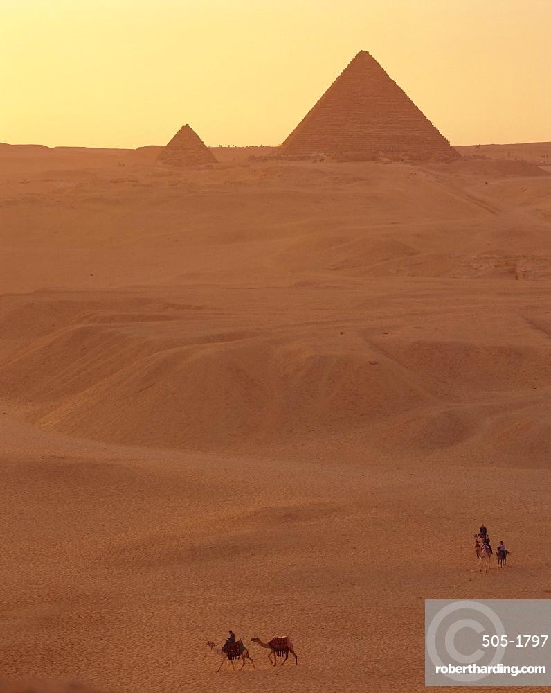 The Pyramids at sunset, Giza, Egypt