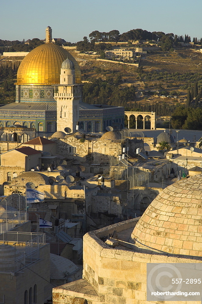 The Dome of the Rock, and typical Middle Eastern architectural stone dome in foreground, Old City, UNESCO World Heritage Site, Jerusalem, Israel, Middle East