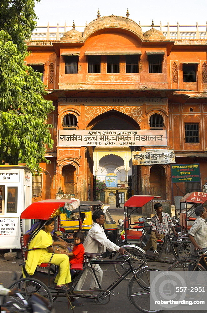 Ochre facade of old building, Sireh Deori Bazaar, Old City, Jaipur, Rajasthan state, India, Asia