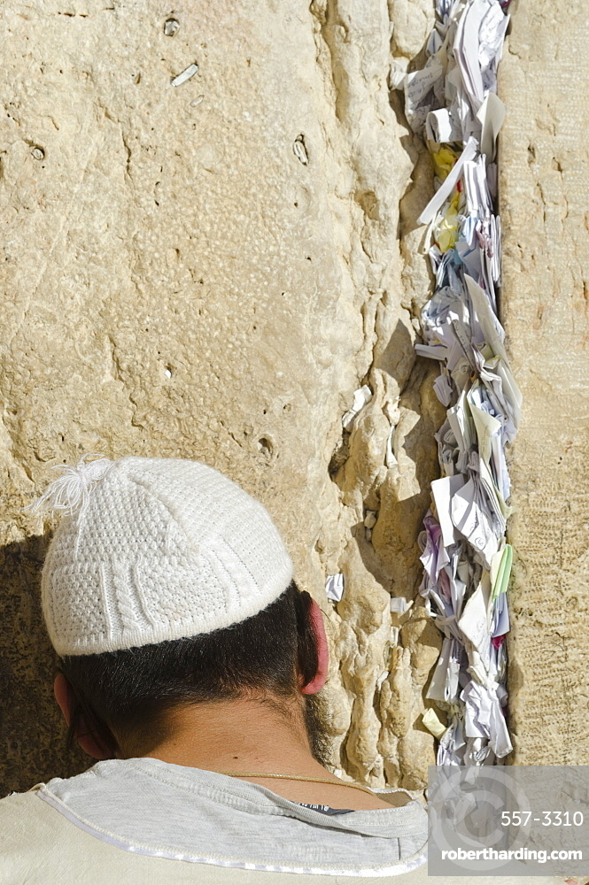 Orthodox Jew praying at Western Wall, with paper notes in crack, Old City, Jerusalem, Israel, Middle East
