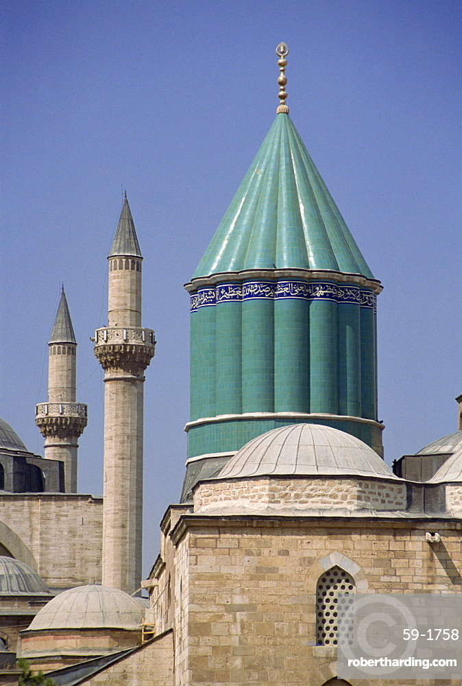 Tile dome tops a museum and mausoleum, Mevlana Turbe, Konya, Anatolia, Turkey, Asia Minor, Eurasia