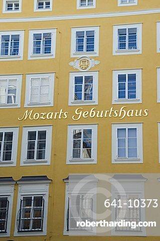 Mozart's Birthplace, now a museum, in Getreidegasse, Salzburg, Austria, Europe