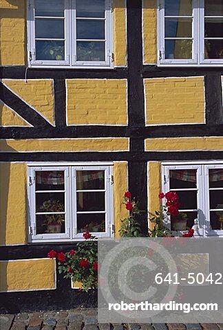 Colourful houses, Aeroskobing, island of Aero, Denmark, Scandinavia, Europe