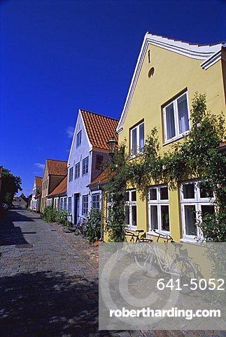Street of colourful houses, Aeroskobing, island of Aero, Denmark, Scandinavia, Europe