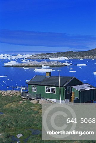 Coast and settlement of Ilimanaq, formerly Claushavn, Greenland, Polar Regions